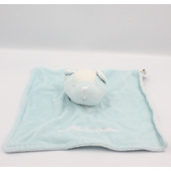 Doudou plat chat ours bleu blanc 3 POMMES