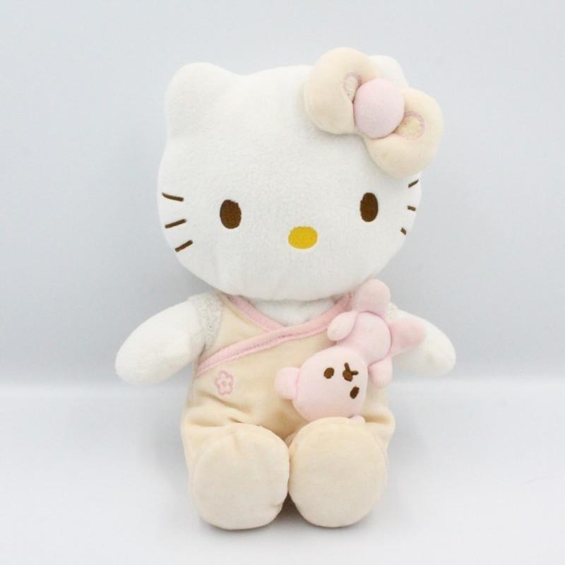 Doudou chat HELLO KITTY pyjama beige rose SANRIO LICENSE