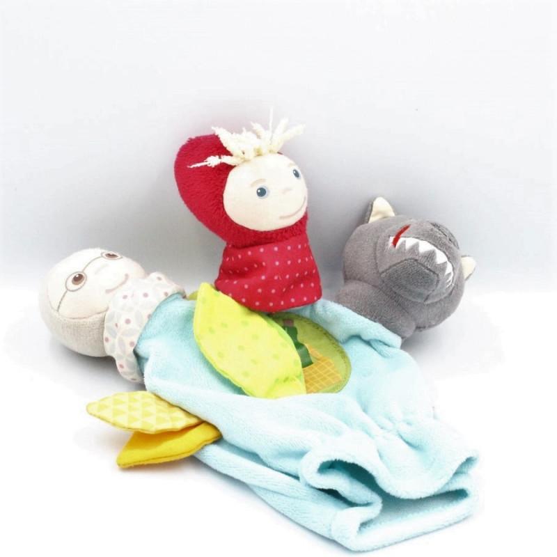 Doudou marionnette 3 doigts Chaperon rouge loup HABA