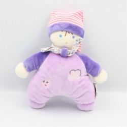Doudou poupée lutin mauve violet rose QUE DU BONHEUR