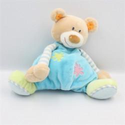 Doudou ours beige bleu vert rayé NATTOU