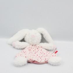 Doudou plat lapin blanc rose fleurs SUCRE D'ORGE