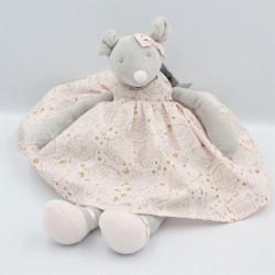 Doudou souris grise robe rose Eugénie TARTINE ET CHOCOLAT