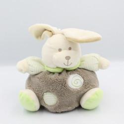 Doudou lapin boule blanc beige gris rayé vert CP INTERNATIONAL