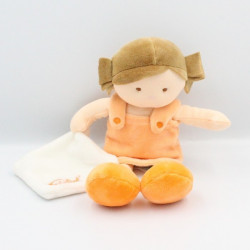 Doudou poupée fille orange mouchoir Chipies BABY NAT 27 cm
