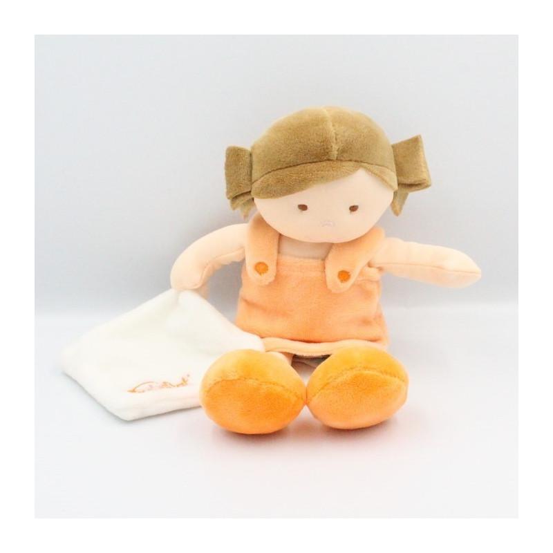 Doudou poupée fille orange mouchoir Chipies BABY NAT 27 cm