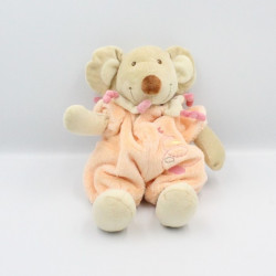Doudou souris combinaison orange avion nuage TEX