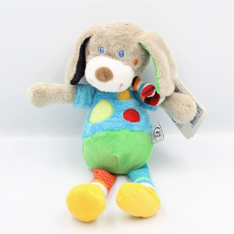 Doudou Chien bleu vert cercles jambes pois carreaux MOTS D'ENFANTS