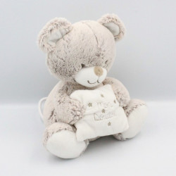 Doudou musical ours beige blanc coussin TEX BABY
