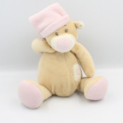 Doudou ours beige blanc rose coeur MANON ET VALENTIN