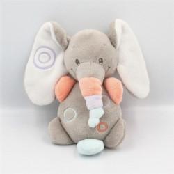 Doudou musical éléphant gris orange bleu mauve Bubbles NATTOU