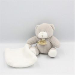 Doudou et compagnie ours gris mouchoir blanc