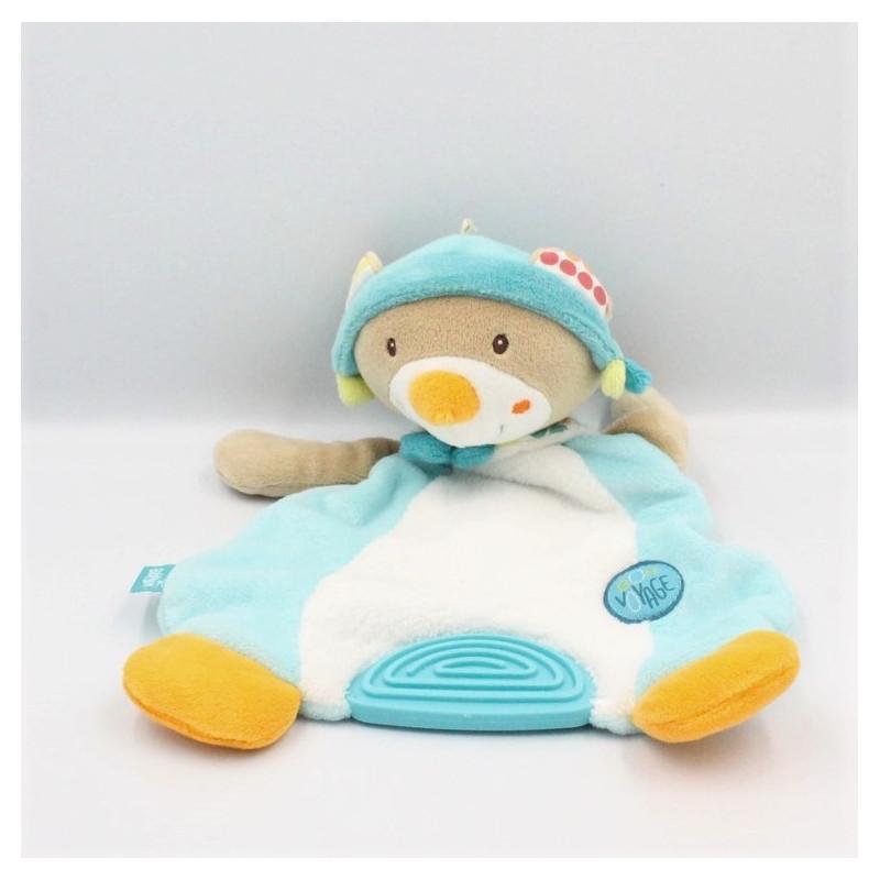 Doudou plat ours beige bleu blanc Bon Voyage BABYSUN