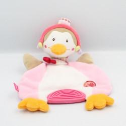 Doudou plat canard oiseau beige rose blanc Bon Voyage BABYSUN