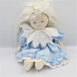 Ancienne Poupée Tissu robe bleu cheveux blanc MUNDIA