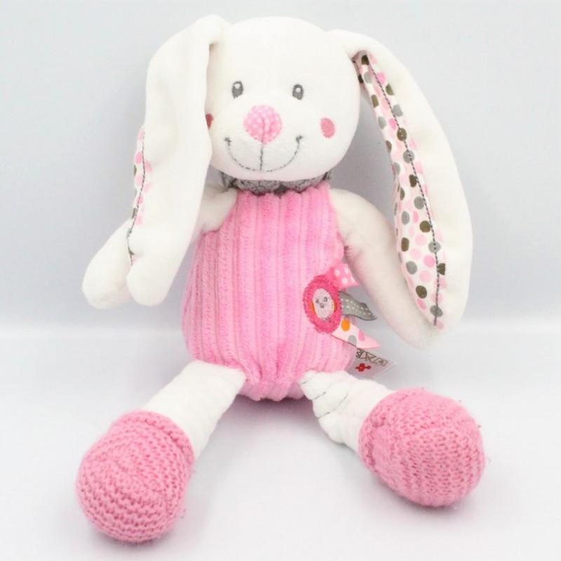 Doudou lapin blanc rose gris pois oiseau NICOTOY