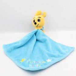 Doudou Kangourou orange jaune mouchoir bleu WALIBI