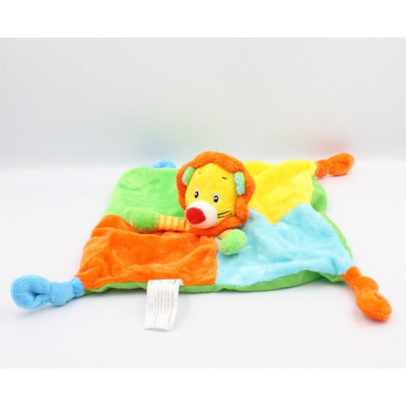 Doudou plat lion orange bleu jaune vert VETIR GEMO