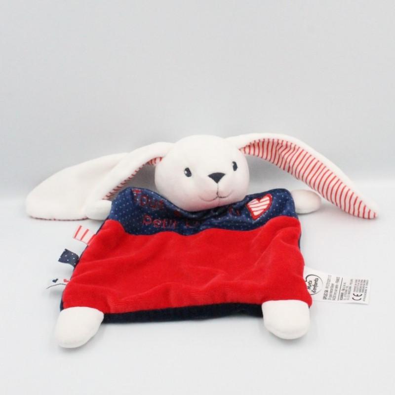 Doudou plat lapin blanc bleu rouge Petit Bisou MOTS D'ENFANTS