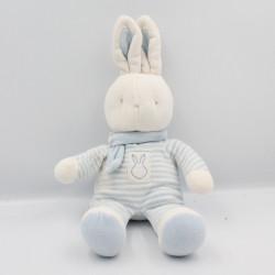 Doudou Lapin blanc rayé bleu KLORANE