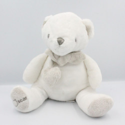 Doudou ours blanc gris foulard Oscar J-LINE