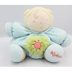 Doudou poupon patapouf bleu jaune fleur verte Chubby baby doll blue KALOO