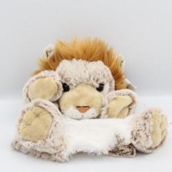 Doudou marionnette lion beige blanc tout doux DANI