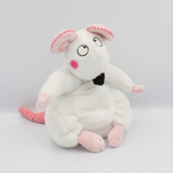 Doudou souris blanche rose rayé JEMINI