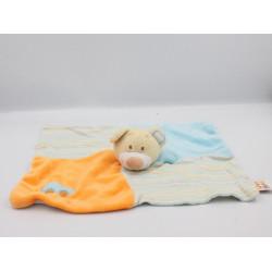 Doudou plat ours beige bleu orange voiture DOUKIDOU