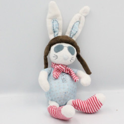 Doudou lapin blanc bleu rouge rayé aviateur TAPE A L'OEIL