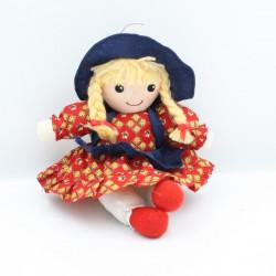 Doudou poupée robe rouge bleu chapeau FIZZY