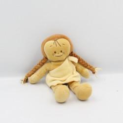 Doudou poupée fille beige nattes indienne NOUKIE'S