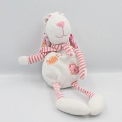 Doudou lapin blanc rose fleurs coeur BABY NAT