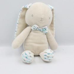 Doudou Lapin écru beige pois bleu KLORANE