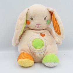 Doudou lapin beige vert orange jaune coeur BABY AUCHAN