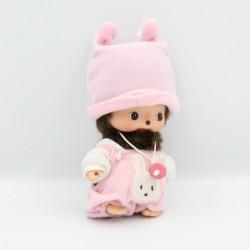 Peluche Singe bébé Kiki tenue rose SEKIGUCHI