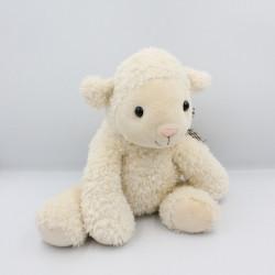 Doudou mouton blanc noeud vichy marron Jours Heureux
