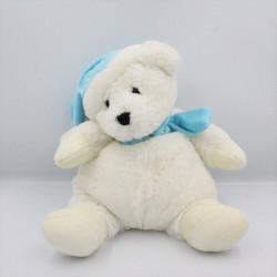 Doudou peluche ours blanc bleu bonnet écharpe CMP