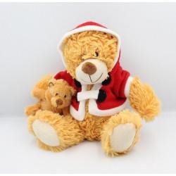 Peluche ours Pére Noël avec bébé FIZZY