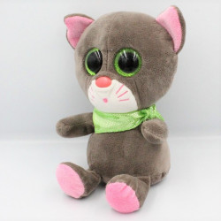 Doudou peluche chat gris rose vert LOOKIZ JEMINI