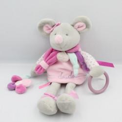 Doudou et compagnie souris grise rose violet hochet fleur Pearly