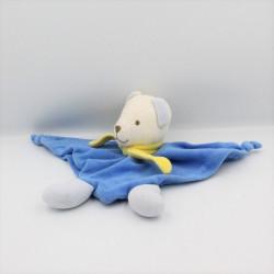 Doudou plat triangle ours blanc bleu jaune NOUNOURS
