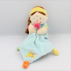 Doudou poupée indienne bleu vert jaune rose mouchoir POMMETTE