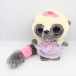Doudou peluche YOOHOO raton laveur blanc gris rose princesse