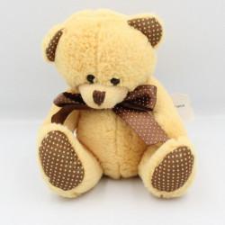 Doudou peluche ours beige marron pois MAXITA