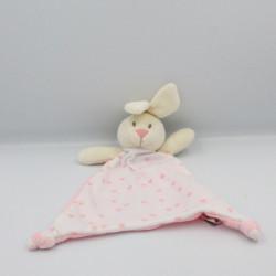 Doudou plat lapin blanc rose coeurs TOM & ZOE