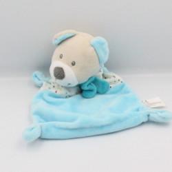 Doudou plat ours bleu blanc pois nuage NICOTOY