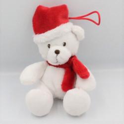Doudou ours blanc rouge bonnet écharpe SF
