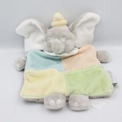 Doudou plat Dumbo l'éléphant gris vertbleu jaune DISNEY BABY