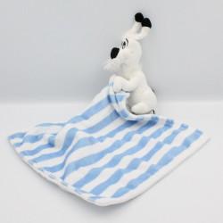 Doudou chien Idéfix mouchoir blanc bleu rayé Parc ASTERIX